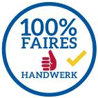 Wir beteiligen uns an der Initiative für Faires Handwerk, Logo 100% fair